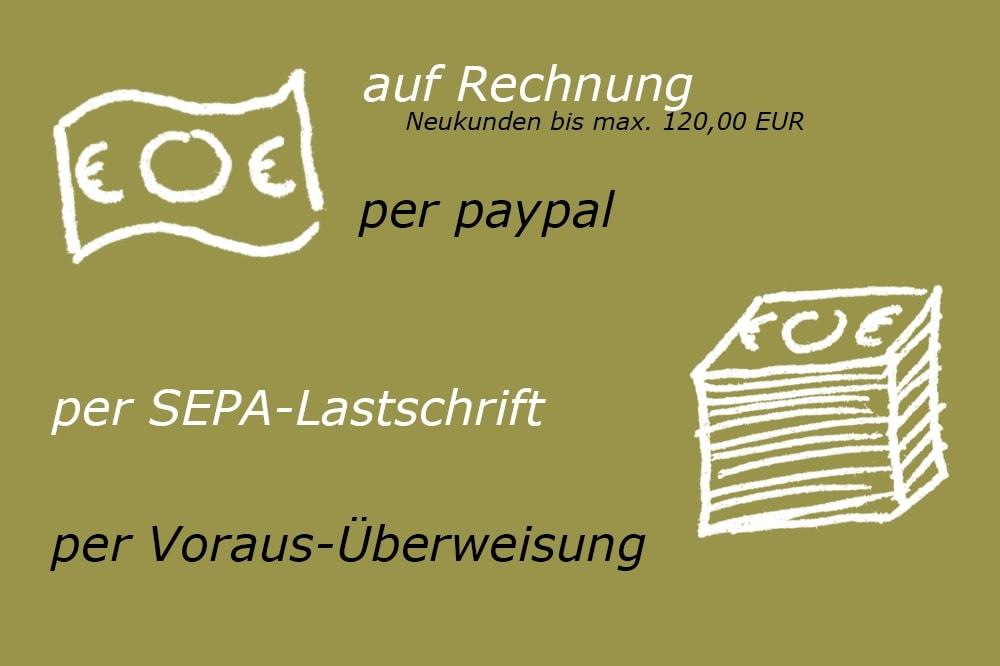 Bezahlen auf Rechnung, per paypal, Lastschrift oder Überweisung